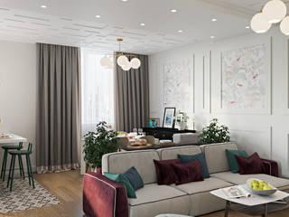 Дизайн студия Алёны Чекалиной Ruang Keluarga Gaya Eklektik