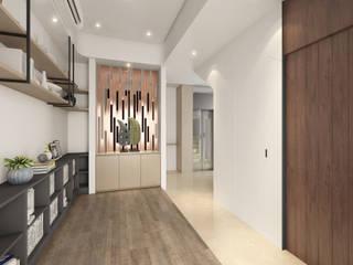 匆匆忙後的幽靜--和澄豐釀 木博士團隊/動念室內設計制作 現代風玄關、走廊與階梯