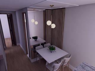 Sala pequena de jantar com painel ripado de madeira PD Reforme&Decore Salas de jantar clássicas Madeira Efeito de madeira
