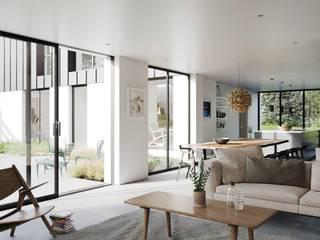 Marshall McCann Architects Soggiorno moderno Piastrelle Bianco