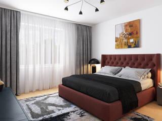 Schlafzimmer 3D Visualisierung GRIFFEL 3D DESIGN Moderne Schlafzimmer Grau