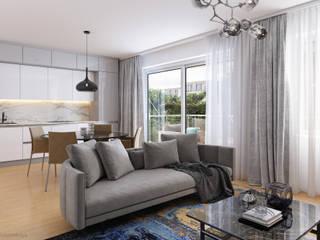 Wohnzimmer 3D Visualisierung GRIFFEL 3D DESIGN Moderne Wohnzimmer Grau