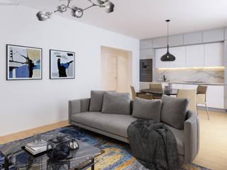Wohnzimmer 3D Visualisierung GRIFFEL 3D DESIGN Moderne Wohnzimmer Metallic/Silber