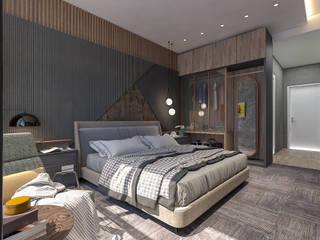 OTEL ODA İç Mimar Murat KAÇAR - Ofiss Iç Mimarlık Yatak OdasıAksesuarlar & Dekorasyon Kâğıt Gri