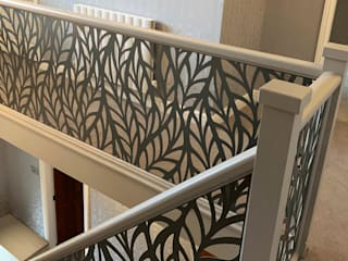Renovated staircase with laser cut infill - Frond design Staircase Renovation Escaleras Metal