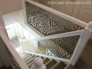 Laser cut balustrade infill panels replacing wooden spindles - Autumn design Staircase Renovation Escalier Métal