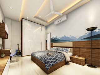 Ravi Prakash Architect Small bedroom Plywood Blue