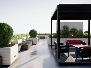 Außenvisualisierung von Roof Garten in Dubai ESwin Architektur Moderner Garten