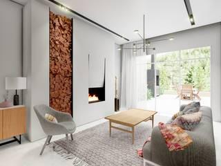 Innenvisualisierung vom Einfamilienhaus - Madrid ESwin Architektur Moderne Wohnzimmer