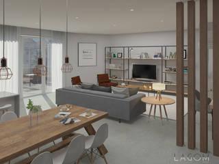 Lagom studio 北欧デザインの リビング 無垢材 灰色