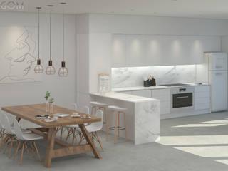 Lagom studio 北欧デザインの ダイニング 無垢材 白色