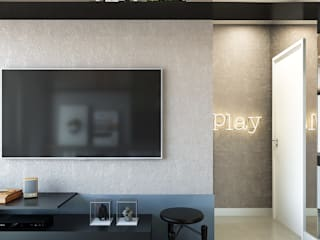Studio-VF-Arquitetura Ruang Keluarga Modern Beton Blue