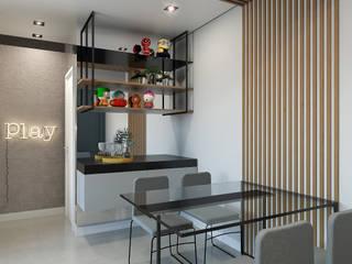 Studio-VF-Arquitetura Ruang Makan Modern Beton Wood effect