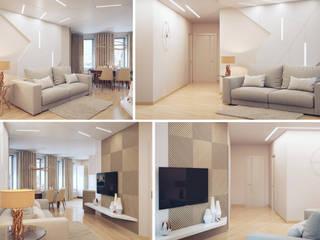 Студия дизайна интерьера 'Золотое сечение' Modern living room Beige