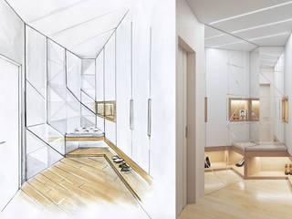 Студия дизайна интерьера 'Золотое сечение' Modern Corridor, Hallway and Staircase Grey