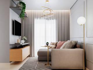 Giovanna Romero Arquitetura e Interiores Ruang Keluarga Klasik Kayu Grey