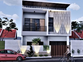 M HOUSE BujurSangkar Architect Rumah tinggal Metallic/Silver