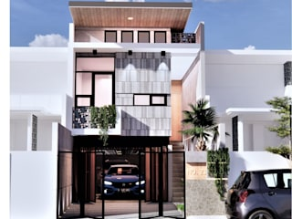 Fusion of visual light with industrial concepts . BujurSangkar Architect Rumah tinggal Metallic/Silver