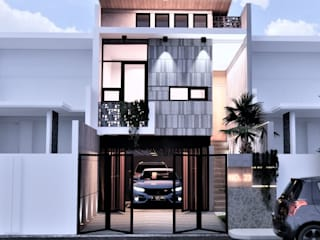 Fusion of visual light with industrial concepts . BujurSangkar Architect Rumah Gaya Industrial