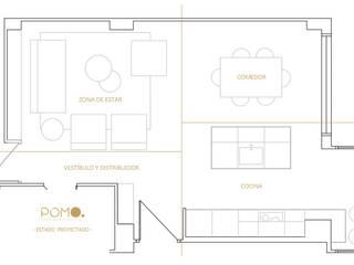 Diseño Online. Zona de estar en vivienda familiar en A Coruña POMO. Home Staging & Design Studio