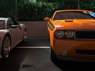 DADOMM / Architectural Visualization / Render Garasi Minimalis Beton Orange