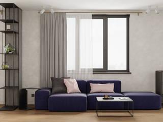 Светлая семейная квартира с синими акцентами 80 м² Бюро интерьеров ICON Гостиная в скандинавском стиле