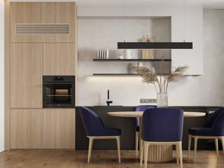 Светлая семейная квартира с синими акцентами 80 м² Бюро интерьеров ICON Кухня в скандинавском стиле
