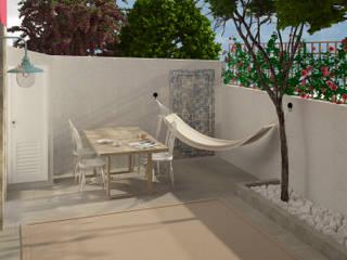 Lagom studio 北欧デザインの テラス コンクリート 灰色