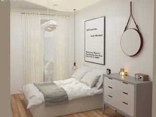 Lagom studio 北欧スタイルの 寝室 白色