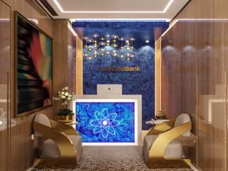 Camila Pimenta | Arquitetura + Interiores Ruang Studi/Kantor Modern Marmer Blue