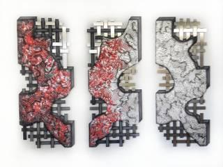 Triptychon Varianten Edelstahlbild Atelier Sabine Kottmayr Kunst Bilder & Gemälde Metall Rot