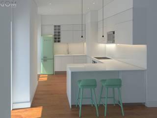 Residential Building in Lisbon 2 Lagom studio ミニマルデザインの キッチン MDF 緑
