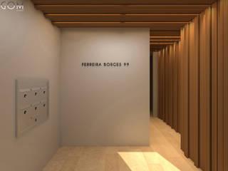 Residential Building in Lisbon 2 Lagom studio モダンスタイルの 玄関&廊下&階段 無垢材 灰色
