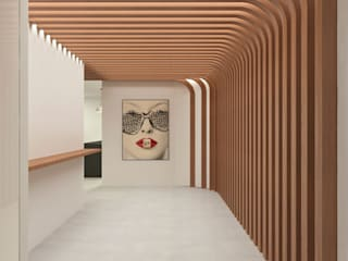 Lagom studio モダンスタイルの 玄関&廊下&階段 無垢材