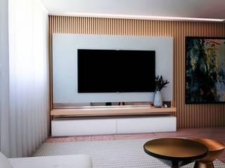 Sala de Estar Ripado Madeira MEA Interior Design Salas de estar modernas