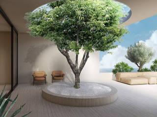 iconic design Balcon, Veranda & Terrasse minimalistes Marbre Beige