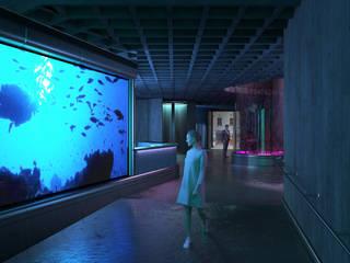 Museo Ciencias Marinas Futurista 3D Spa Pasillos, vestíbulos y escaleras modernos Azul