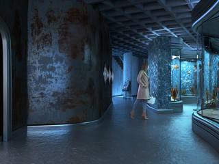 Museo Ciencias Marinas Futurista 3D Spa Oficinas y bibliotecas de estilo moderno Azul