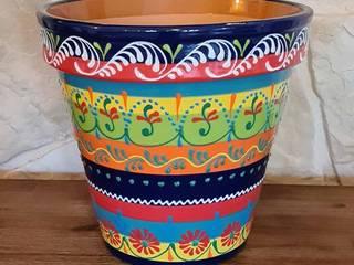 Handbemalte, mediterrane Blumentöpfe aus Spanien mediwo.de - mediterrane Wohnideen Raumbegrünung Keramik Mehrfarbig