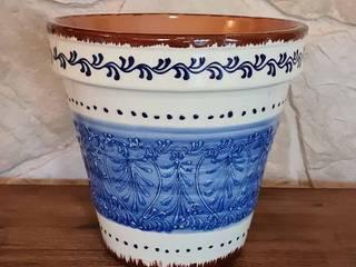 Handbemalte, mediterrane Blumentöpfe aus Spanien mediwo.de - mediterrane Wohnideen Raumbegrünung Keramik Blau