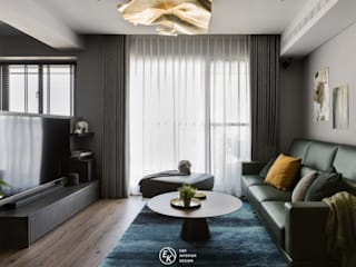 Residence | Kaohsiung 森鄰 梁宅 E&K宜客設計 现代客厅設計點子、靈感 & 圖片