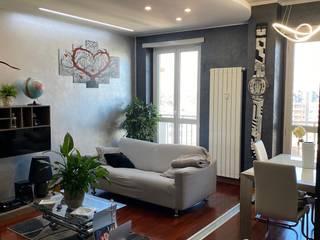 Restyling appartamento in Torino Silvia Camporeale Interior Designer Soggiorno moderno Legno composito Grigio