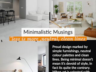 "Minimalist Musings ""less is more ,neutral, clean lines Lakkad Works Living room"