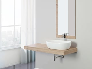 Composizione bagno asimmetrica con mensolone sospeso in legno nobilitato melaminico colore rovere di Bordeaux 120 cm Inbagno BagnoLavabi Legno Effetto legno