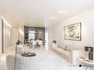 OTHERSIDE ARCHITECTS Ruang Keluarga Modern Beige