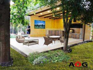 AOG Balkon, Beranda & Teras Modern Kayu Buatan Wood effect