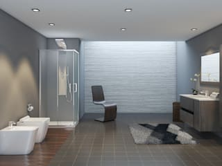 Composizione bagno linea Master con box doccia satinato e sanitari filomuro rimless Inbagno BagnoDecorazioni Legno Effetto legno