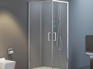 Composizione bagno linea Master con box doccia satinato e sanitari filomuro rimless Inbagno BagnoVasche & Docce Vetro Trasparente