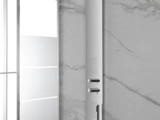 Composizione bagno linea Master con box doccia satinato e sanitari filomuro rimless Inbagno BagnoRubinetteria Metallo Metallizzato/Argento