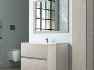 Composizione bagno linea Oxid con box doccia satinato e sanitari rimless Inbagno BagnoContenitori Legno Effetto legno
